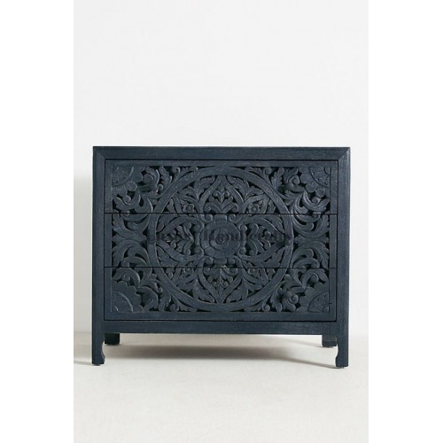 Floral Design Chest of 3 Drawers Table in Indigo Blue color