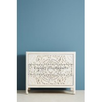 Floral Design Chest of 3 Drawers in White Color