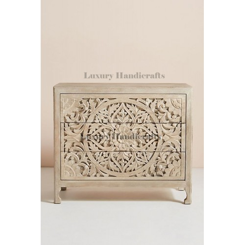 Mandala Design Chest of 3 Drawers in Washed Grey color